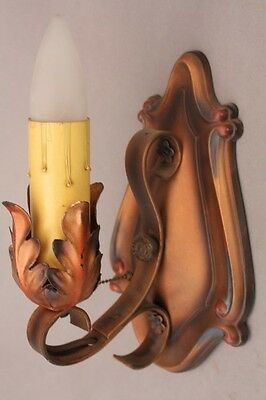 1920s Spanish Revival Single Light Sconce Copper Acanthus Motif Antique (9365)