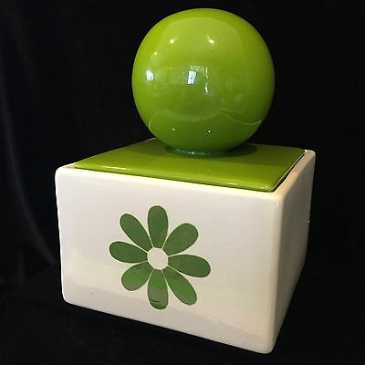 Vintage 1970's Daisy and Lime Green Ball Canister by HOLIDAY DESIGNS USA