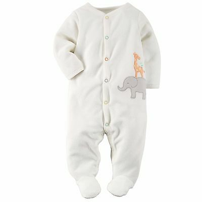 NWT Carter's Unisex White Zoo Animal Terry Footed Sleeper 3 Months