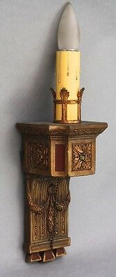 1920s Antique Single Light Sconce w Gold & Red Tone Fits Tudor Spanish (9371)