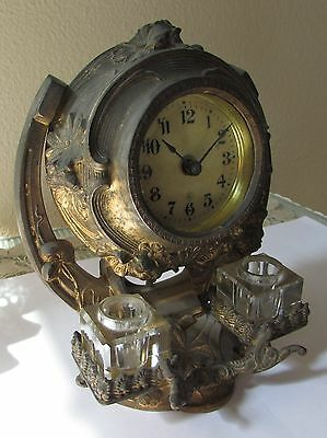 RARE Antique 1910 Gilbert Inkwell Inkstand CLOCK Model 6175, HTF!