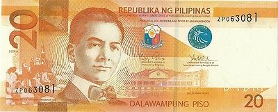 Philippines 20 Peso Pesos 2014 - crisp - current money - uncirculated??? -  LQQK