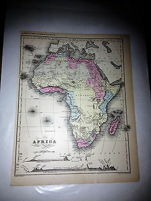 1866 hand colored map of africa