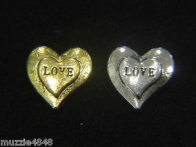 Floating Charms for Living Memory Locket Pendant Hearts Gold Silver Love 9mm