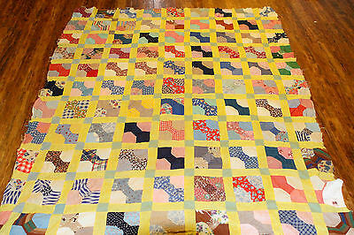 """Vintage Early Mid Century Feedsack Novelty Prints QUILT TOP  59x76"""" Handpieced"""