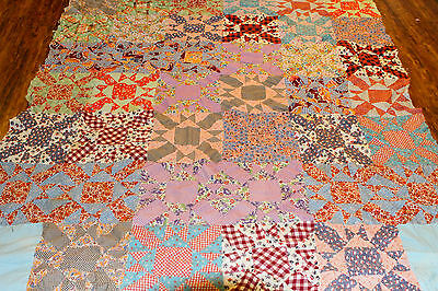 """Vintage Early Mid Century Feedsack Novelty Prints QUILT TOP  88x73"""" Handpieced"""