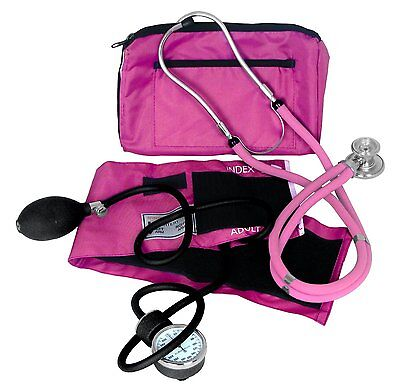 Dixie EMS Blood Pressure and Sprague Stethoscope Kit, Pink Sprague Rappaport
