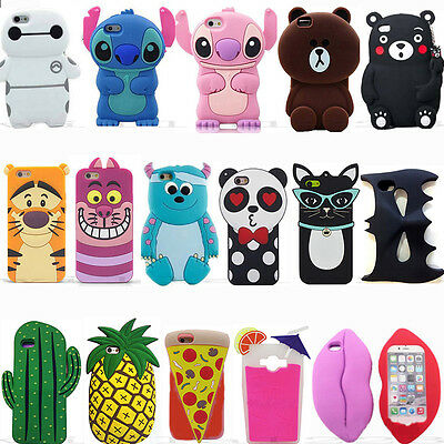 Hot New 3D Cute Cartoon Animal Soft Silicone Case Covers Back For Various Phones