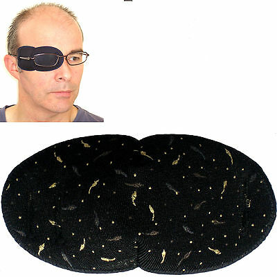 Medical Eye Patch for Glasses LARGE BLACK METALLIC DASHES