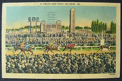 Pimlico Race Track Baltimore Maryland MD 1948 Linen Postcard