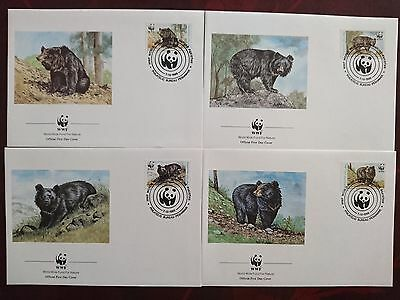 WWF first day covers x4 featuring black bears 7-10-89 pakistan