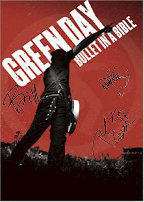 Green Day Autographed Facsimile Signed Bullet In A Bible Poster