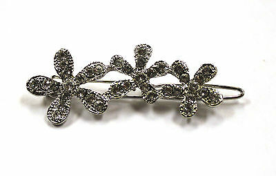 NEW Barrette Hair Clip SIlver Clear RHinstones Cherry Blossoms
