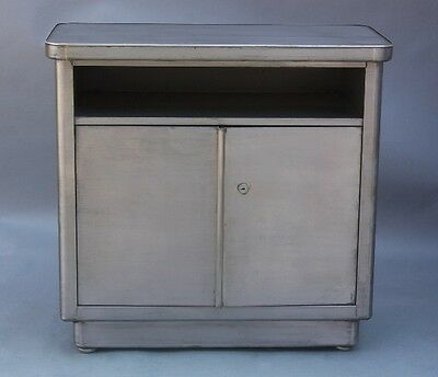 Mid Century Antique Industrial Small Metal Credenza Storage Cabinet (9377)