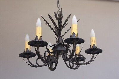 1920s Spanish Revival Black Wrought Iron Chandelier Antique Light Vintage (9381)