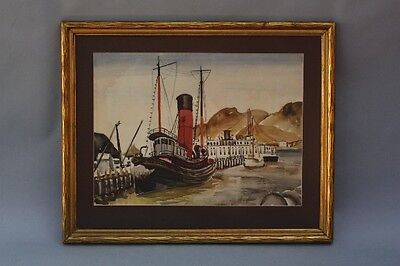 1937 Watercolor Painting San Francisco Port Mary Finley Fry Antique Art (9384)