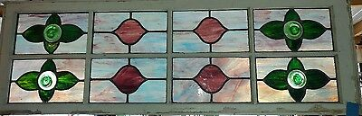 "Large Antique Stain Glass Window With Roundels 19th C 60"" x 20"""