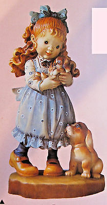 """Anri Sarah Kay """"OUR PUPPY"""" Wood Carved 6"""" #653051 NEW IN BOX LE 2000 KH"""