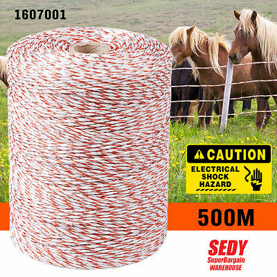 500m Polywire Roll Electric Fence Energiser Stainless Steel Poly Rope Insulator
