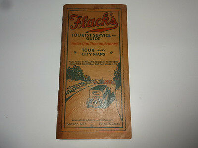 1927 Flack's Tourist Service Guide & City Maps New York State Montreal White Mts