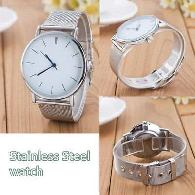 Womens Ladies Casual Stainless Steel Mesh Band Quartz Analog Wrist Watch Watches