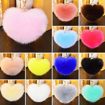 Rabbit Fur Heart Shape Ball PomPon Car Keychain  Handbag Pendant Key Ring