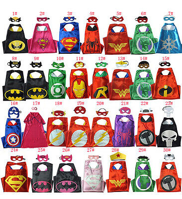 Boys Girls Superhero Cape+Mask Superman Batman Spiderman Batgirl Halloween gift