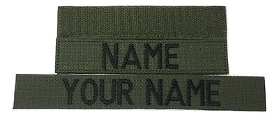 OD Green Custom Name Tape, with Fastener, Sew-On - US Army Marines Military Tape