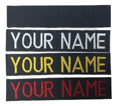 BLACK Custom Name Tape, with Fastener, Sew-On - US ARMY MARINES POLICE Military