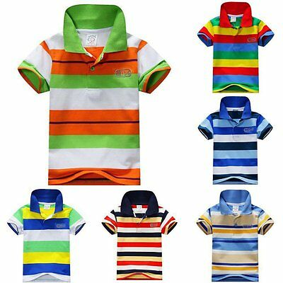 Toddler Baby Kids Boys Girl Striped Short Sleeve Shirts Tee Tops T-shirt 1-7 Y