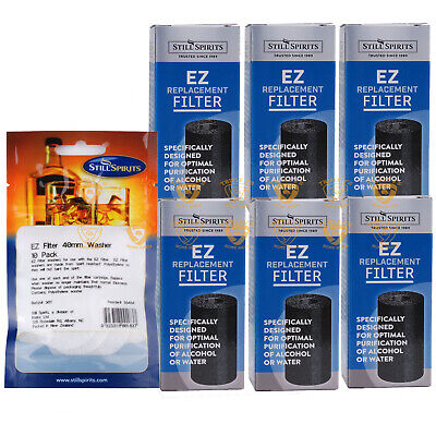 Still Spirits Replacement 6 EZ Filter Carbon Cartridges Bonus Washer Home Brew
