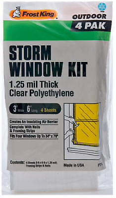 THERMWELL 4-Pack 3 x 6-Ft. Outdoor Storm Window Kit