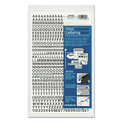 "Press-On Vinyl Letters & Numbers, Self Adhesive, Black, 1/4""h, 610/Pack"