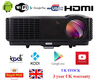 UK Wireless 1080P Full HD 4500 Lumens Home Cinema Android HDMI USB LED Projector
