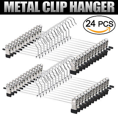 24PCS Metal Coat Trousers Pant Hanger Clothes Skirt Adjustable Clip Coathanger