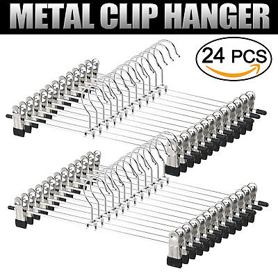 Metal Coat Hanger Trousers Adjustable Clothes Pant Skirt Clip Hook Holder 24pcs