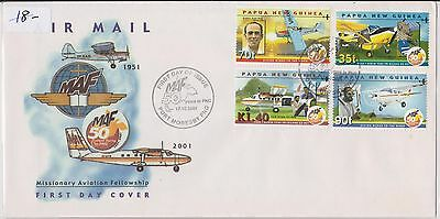 (H19-33) 2001 PNG FDC air mail 4set Missionary aviation
