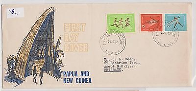 (H19-7) 1967 PNG FDC 3stamps 5d x2 & 2/3d commonwealth games (A)