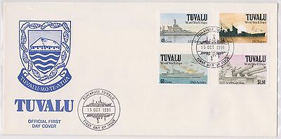(H19-99) 1991 Tuvalu FDC 4stamps ships of WWII (B)