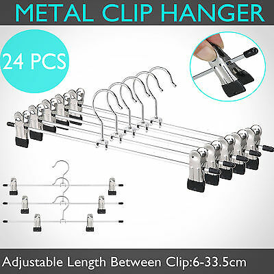 24pcs Clothes Metal Hangers Clip Clamp Pants Trouser Coat Socks Kids Coathanger