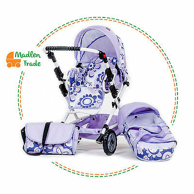 Toy Doll Pram Nelly for dolls Stroller 2in1 with bag and basket