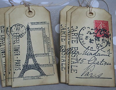 PARIS-EIFFEL TOWER-Vintage Style-Large Gift Tags-Set of 6-Wedding-Travel-French-