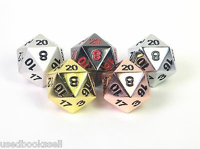 Solid Metal 5pc d20 Polyhedral Dice Set Copper, Silver, Gold, Obsidian, Pearl