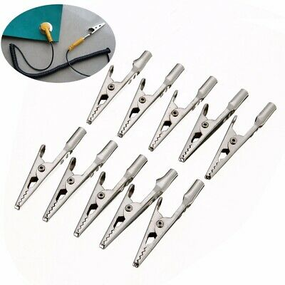 10Pcs Stainless Steel Electric Test Crocodile Alligator Clips Clamps Silver Tone