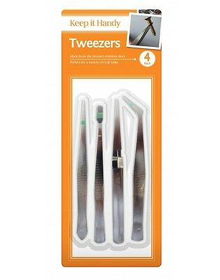 Keep it Handy Tweezer Pack - Stainless Steel Craft Body Hair 4 Pack of Tweezers