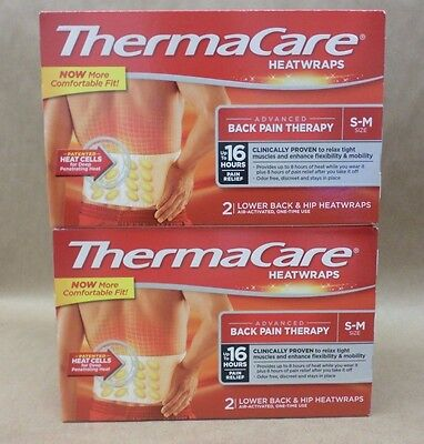 THERMACARE HEATWRAPS BACK PAIN THERAPY Size S M 2 Heatwraps Exp 09/17 + LOT OF 2