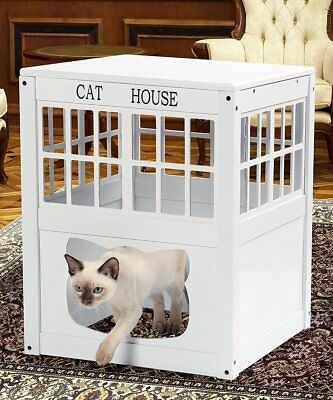 Cat Kitty Litter Hide Away End Table Cabinet Litter Box Furniture Bed Pet House