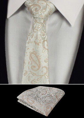 Mens Tie Handkerchief Wedding Necktie Hanky Cream White Paisley Woven Silk Ties