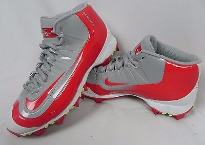 New Nike Youth Huarache Baseball Rubber FastFlex Mid Cleats Gray & Red