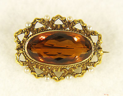 Antique Victorian 14k Gold Pearl Citrine Brooch